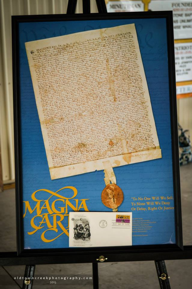 This poster shows a copy of the original Magna Carta. The copy was presented to Independence Hall in Philadelphia by Ross Perot.