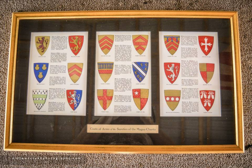 The crests of the nobility who forced King John to sign the Magna Carta.