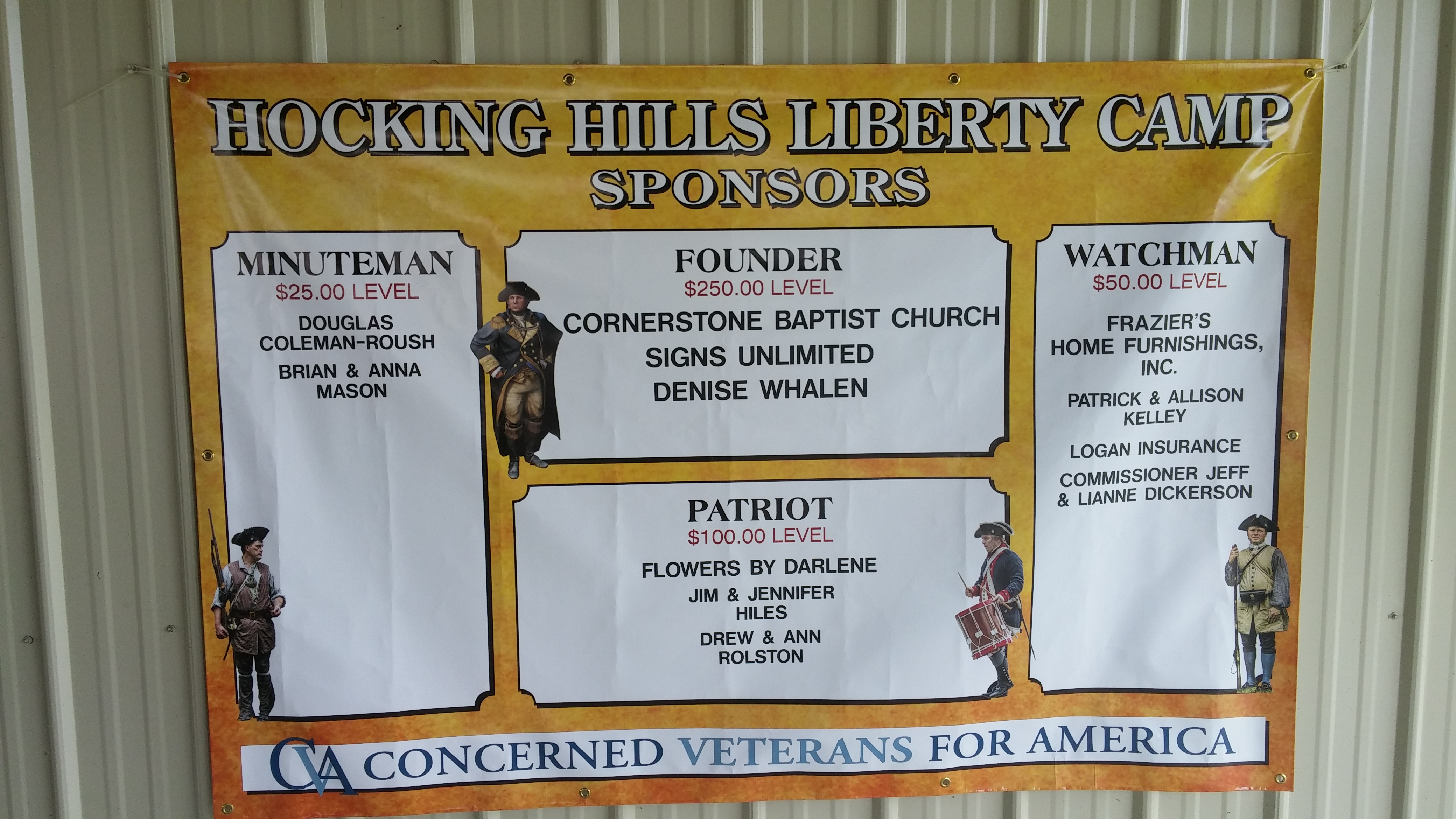 "Our ""Donor Wall"" recognized those who gave financial support to Liberty Camp."